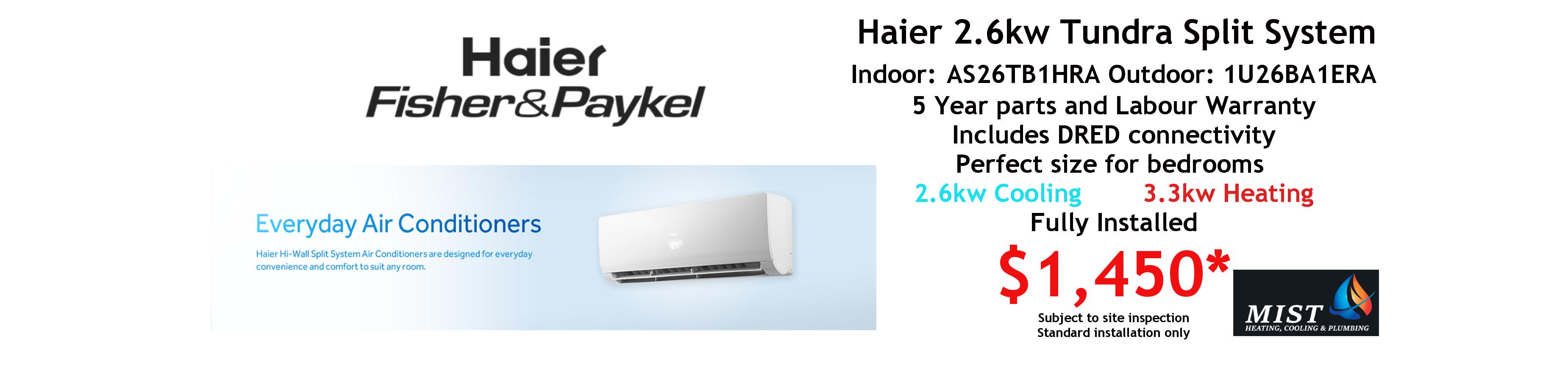 haier 2.6kw split system