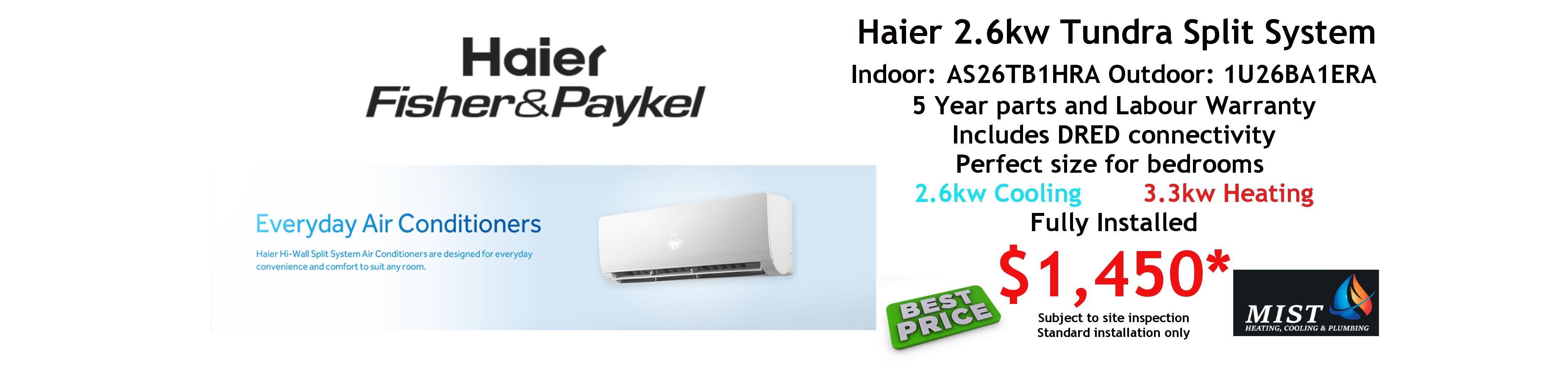 haier split 2.6kw