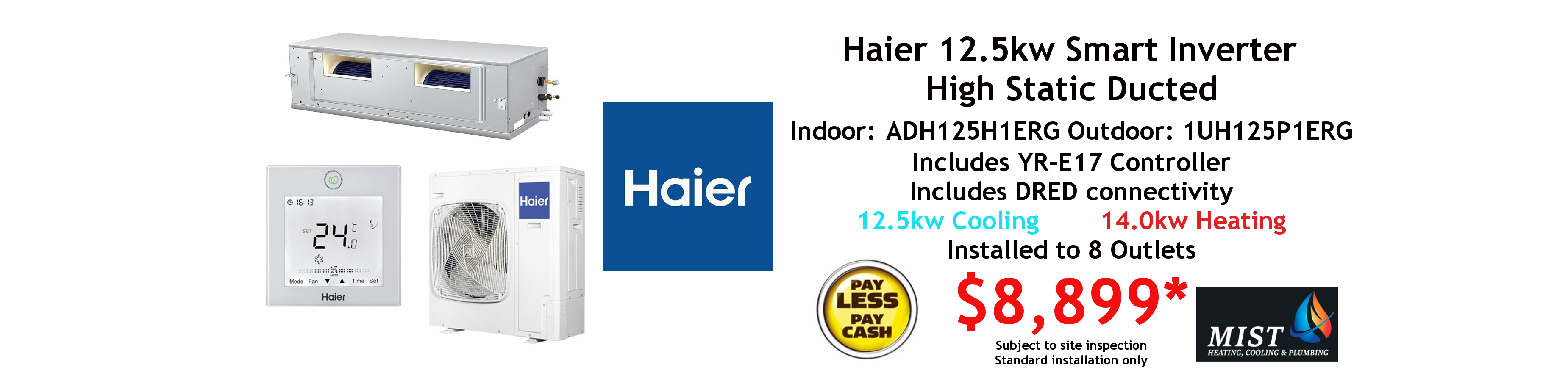 haier ducted 12.5kw