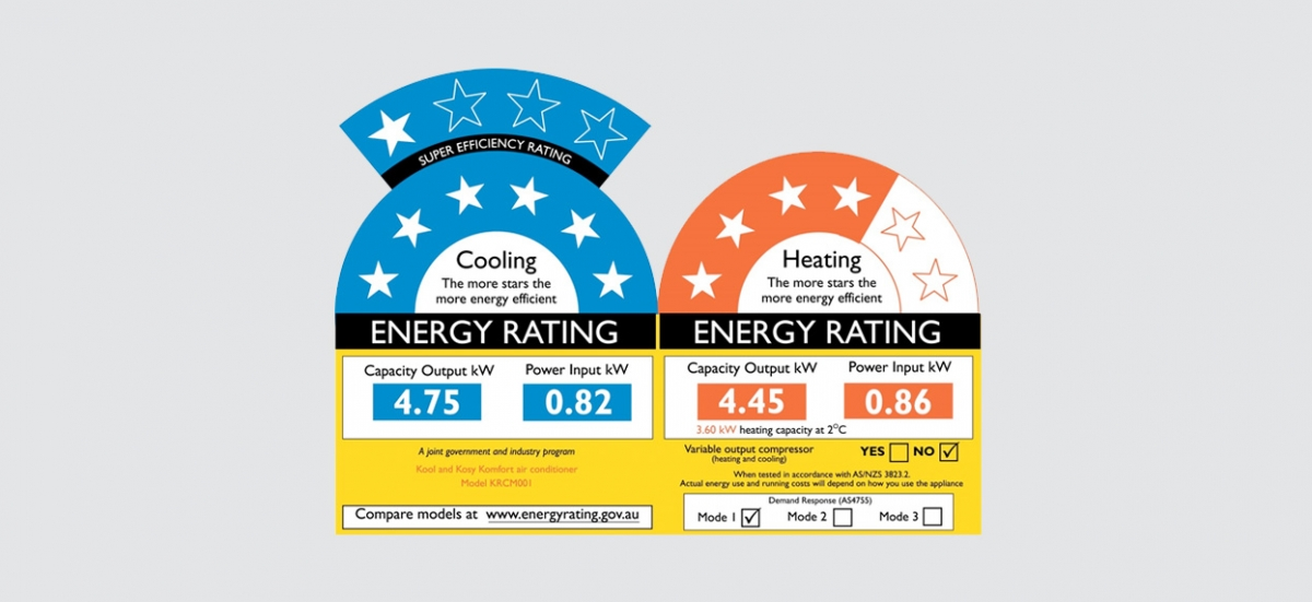 E3 Energy Rating Label Heating Cooling Air Conditioner